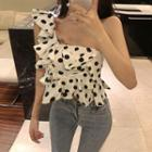 Dotted One-shoulder Cropped Top White - One Size