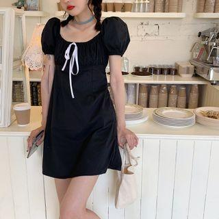 Square Collar Puff-sleeved Dress Black - One Size