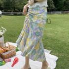 Floral Print Drawstring Skirt