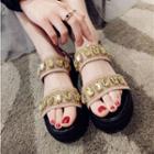 Rhinestone Slingback Platform Sandals