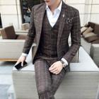 Set: Single-button Check Blazer + Vest + Pants