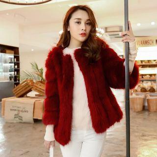 Faux Fur 3/4 Sleeve Coat