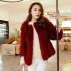 Faux Fur 3/4 Sleeve Coat