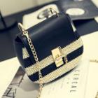 Chain Strap Striped Shoulder Bag