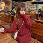 Slit-back Turtleneck Cable Knit Dress