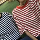 Loose-fit Striped Short-sleeve Long Top