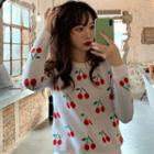 Cherry Print Crew-neck Sweater