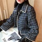 Tweed Buttoned Jacket / Tweed Mini A-line Skirt