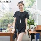 Asymmetric Hem Short Sleeve Tee