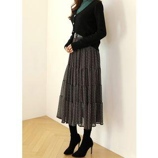 Patterned Long Tiered Skirt