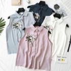 Flower Embroidered Striped Sleeveless Shirt