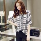 Check Tab-sleeve Chiffon Blouse