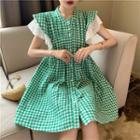 Lace-trim Checked Shirtdress Green - One Size
