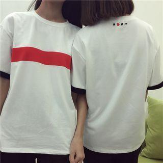 Loose-fit Print Color-block Short-sleeve Top