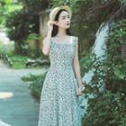 Printed Sleeveless A-line Midi Dress