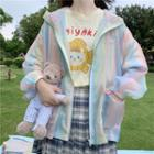 Hooded Balloon-sleeve Zip Jacket