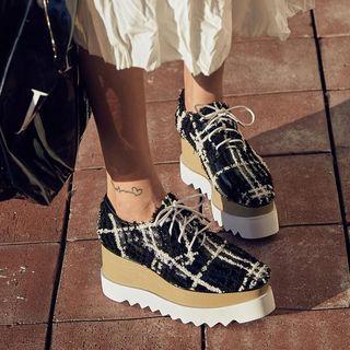Plaid Platform Lace-up Shoes