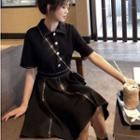 Faux Pearl Striped Dress