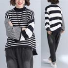 Mock-neck Striped Sweater As Shown In Figure - One Size