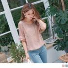 Ruffle Sleeve Floral Round Neck Chiffon Top