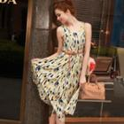 Sleeveless Floral Print Shirred Chiffon Pleated Dress