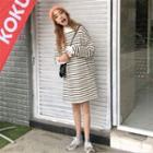 Frilled Trim Striped Mock Two Piece Dress