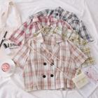 Double-breasted Plaid Crop Shirt