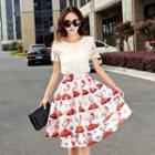 Set: Short-sleeve Tulle Top + Printed Skirt