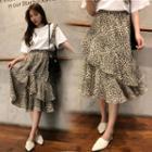 Leopard Pattern Tiered Skirt Beige - One Size