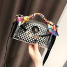 Set Of 2: Transparent Crossbody Bag + Plaid Pouch