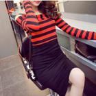 Striped-panel Sheath Dress
