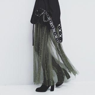 Beaded Mesh Maxi Skirt