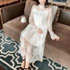 Mock Turtleneck Bell-sleeve Midi A-line Lace Dress