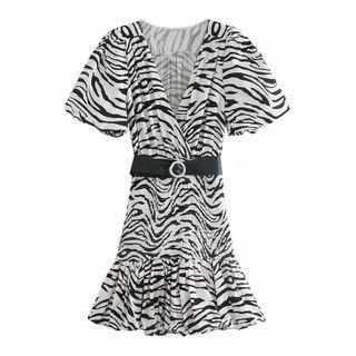 Zebra Print Short-sleeve Mini A-line Dress
