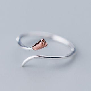 925 Sterling Silver Flower Bud Open Ring Silver - One Size