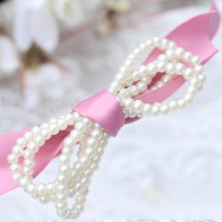 Lady Ribbon Pearl Hair -pink