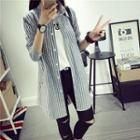 Pinstripe Long-sleeve Long Blouse