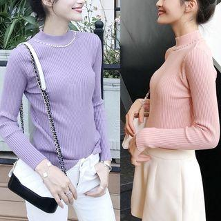 Long-sleeve Mock-neck Knit Top (various Designs And Colors)