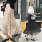 Lace Midi Pleated Skirt