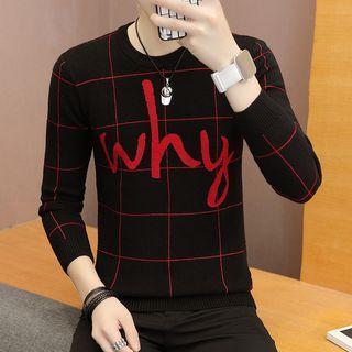 Plaid Lettering Sweater