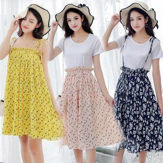 Set: Short-sleeve Top + Spaghetti Strap Floral Print Skirt