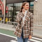 Plaid Tweed Button Coat