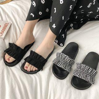 Ruffle Accent Slide Slippers