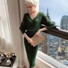 Long-sleeve Pom Pom Knit Sheath Dress