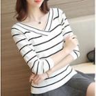 Striped V-neck Long-sleeve Knit Top