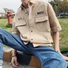 Elbow-sleeve Lettering Cargo Shirt