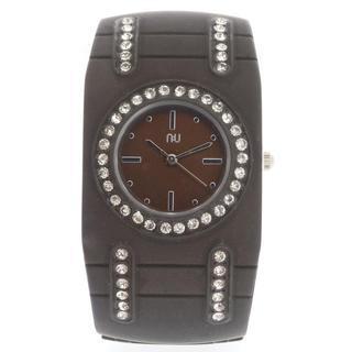 Aluminium-effect Cuff Wrist Watch Brown - One Size