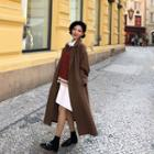 Lapelled Open-front Long Coat With Sash