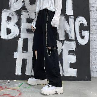Ripped Wide-leg Pants / Pant Chain / Set