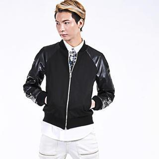 Faux Leather Sleeve Baseball Jacket